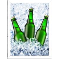Quadro Decorativo Garagem Cerveja No Gelo Branco - Grande
