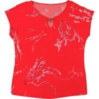 Blusa Em Tecido Com Aviamento Vermelho
