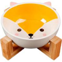 Comedouro Pet Em Ceramica E Bambu 300Ml Raposa Fox