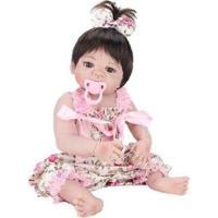 Boneca Reborn Laura Baby Mini Pink Flower Com Acessórios - Feminino-Rosa