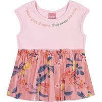 "Blusa Floral ""Follow Your Dreams"" - Rosa & Coral- Bibitokinha"