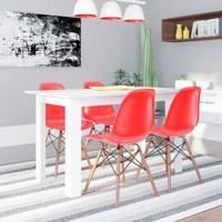 Conjunto De Mesa Cogma Com 4 Cadeiras Eames Base Madeira Branco E Vermelho