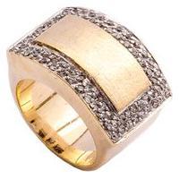 Anel Ouro Retangular Detalhe Fosco Com Fileiras Laterais De Zircônias Bruna Semijoias 13