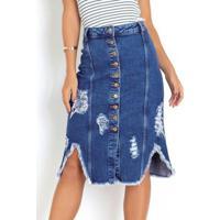 Saia Midi Jeans Destroyed Com Botões Sawary