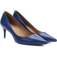 Scarpin Couro Carrano Salto Médio Básico Solado Laqueado - Feminino-Azul