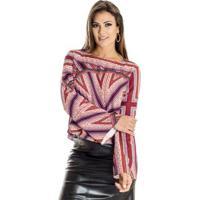 Blusa Cropped Estampa Lenço Ana Hickmann Feminina - Feminino-Vermelho