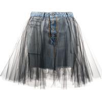 Unravel Project Saia Jeans Com Tule - Azul