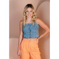 Blusa Sisal Jeans Cropped Com Decote Quadrado