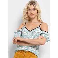 Blusa Lily Fashion Open Shoulder Floral Feminina - Feminino-Branco+Verde
