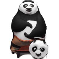 Kit Mochila De Rodas G E Lancheira Max Toy Kung-Fu Panda Preto/Branco