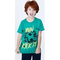 Camiseta Infantil Estampa Futebol Manga Curta Marisa