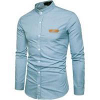 Camisa Slim Fit Whatlees - Azul Clara