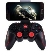 Controle Joystick Terios T3 Bluetooth + Suporte E Receptor Wireless Preto
