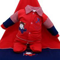 Saída De Maternidade Tamine Masculina Aviador Vermelho