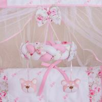 Móbile Berço Bebê Menina Ursa Floral Rosa
