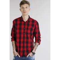 3abbdd3c8 CEA  Camisa Masculina Xadrez Com Bolso Manga Longa Vermelha