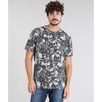 27fd0c5a39 CEA  Camiseta Masculina Estampada De Caveiras Manga Curta Gola Careca Cinza  Mescla