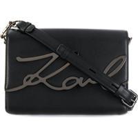 Karl Lagerfeld Bolsa Tiracolo Com Placa De Logo - Preto