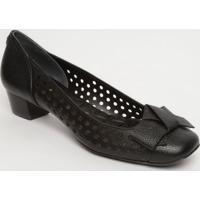 Sapato Tradicional Em Couro Com Vazados - Preto- Saljorge Bischoff