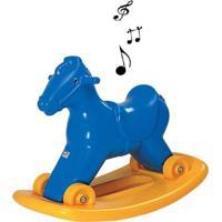 Cavalinho Balanço E Andador Com Som Azul Alpha Brinquedos - Tricae