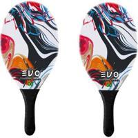 Kit Frescobol 2 Raquetes Fibro De Vidro Evo Vetor - Unissex