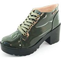 Bota Quality Shoes Tratorada Verniz Feminina - Feminino-Verde Escuro