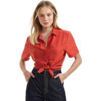 Camisa De Seda Com Pespontos Vermelho Rubi