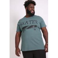 Camiseta Kaue Plus Size Estampa Skater Masculina - Masculino-Verde