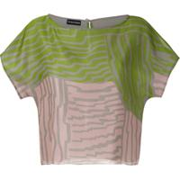 Emporio Armani Blusa De Seda Estampada - Verde