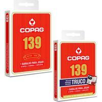 Kit Jogo De Cartas - Baralho Profissional - 139 Tradicional E 139 Truco - Vermelho - Copag