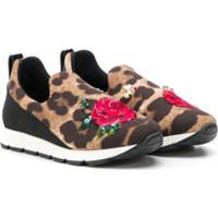 Dolce & Gabbana Kids Tênis Slip-On Com Estampa Leopardo - Marrom