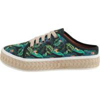 Tênis Open Mule Comitiva Boots Floral Verde