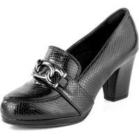 Sapato Bendito Conforto Scarpin Meia Pata Corrente Dourada Cobra Verniz Preto