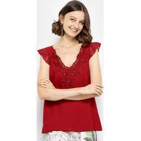 Blusa Top Moda Guipir Renda Feminina - Feminino-Vermelho