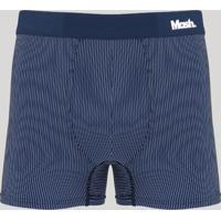 Cueca Boxer Masculina Mash Risca De Giz Azul Marinho