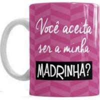 Caneca De Cerâmica Sude Presentes Convite Madrinha Pink
