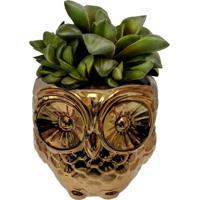 Cachepot Urban Home De Cerâmica Dourado Coruja N