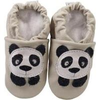 Pantufa Catz Calçados Infantil Couro Nicky Panda - Unissex-Branco+Preto