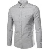 Camisa Social Slim Fit Basic - Cinza