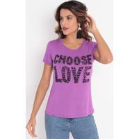 """Blusa """"Choose Love"""" Com Bordados - Roxa & Preta- Cavcavalari"""