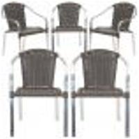 Cadeiras 5Un Para Area Varanda Fibra Sintetica Sala Cozinha Jardim Sacada Pinheiro - Pedra Ferro