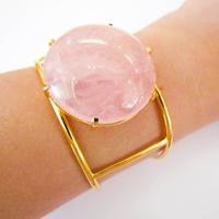 Bracelete Com Banho Em Ouro 18K Pedra Natual Quartzo Rosa