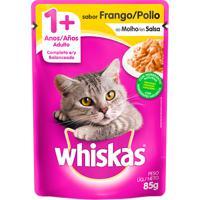 Ração Para Gatos Whiskas Adulto 1+ Anos Sachê Sabor Frango Ao Molho Com 85G