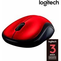 Mouse Óptico Sem Fio Logitech M185 Com 3 Botões, Receptor Nano Usb, Resolução De 1000Dpi, Design Ergonômico E Vermelho