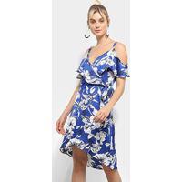 Vestido Heli Evasê Curto Floral Babados Transpassado - Feminino-Azul