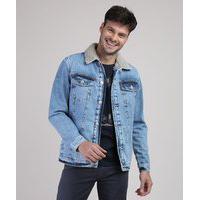 Jaqueta Jeans Masculina Trucker Com Bolsos E Pelo Azul Médio