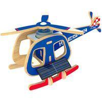 Quebra Cabeça Kuga Desafio 3D Solar Com Motor - Helicóptero Solar - Madeira - P240S - Azul