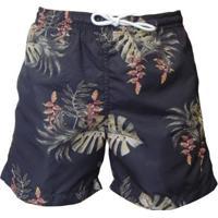 Shorts Mash Cordão Folhagem Masculino - Masculino-Preto