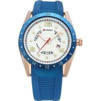Relógio Curren Analógico 8142 Azul E Dourado