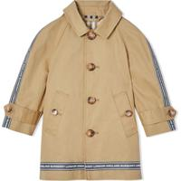 Burberry Kids Logo Tape Cotton Car Coat - Neutro